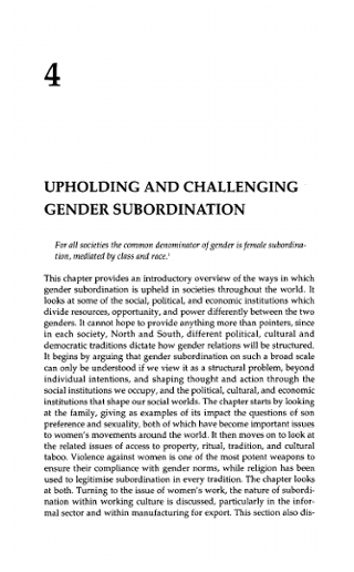 UPHOLDING AND CHALLENGING GENDER SUBORDINATION