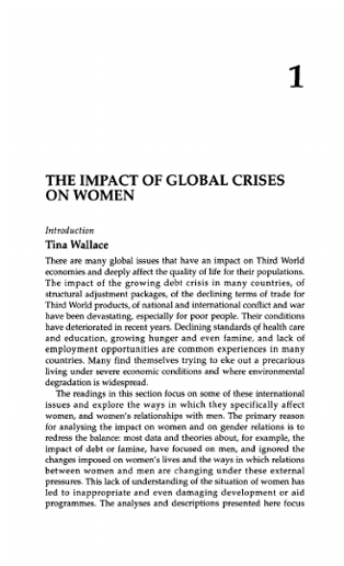 THE IMPACT OF GLOBAL CRISES ON WOMEN