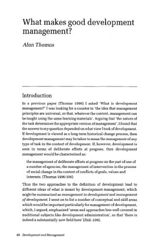What Makes Good Development Management