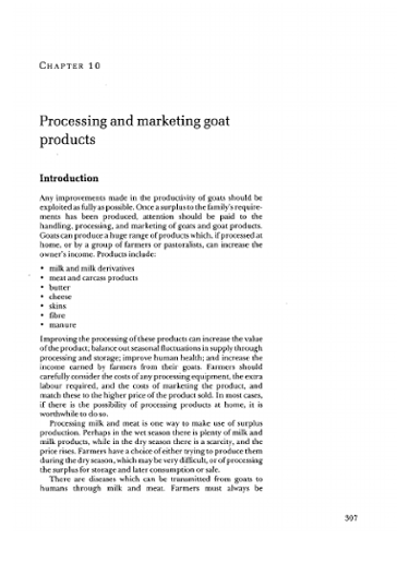 Processing and marketing goat products