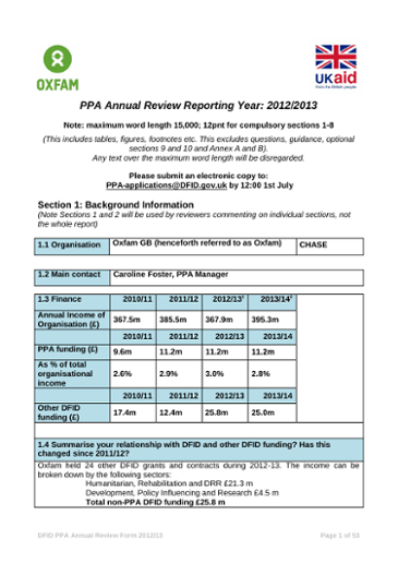 Oxfam's DFID CSH PPA Year Two Annual Review