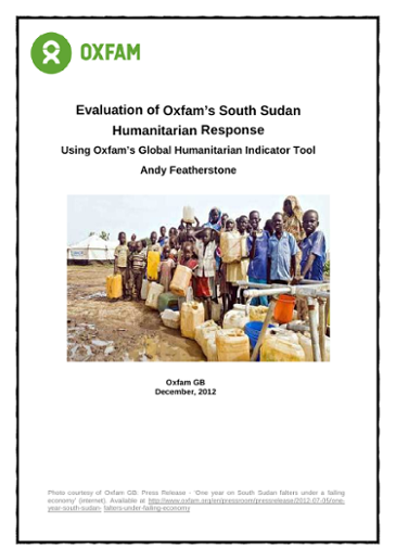 Evaluation of Oxfam's South Sudan Humanitarian Response