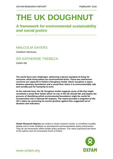 The UK Doughnut: A framework for environmental sustainability and