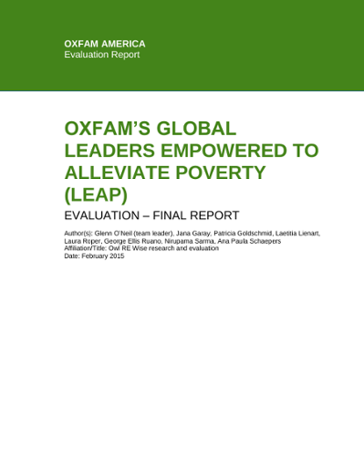 Evaluation of the Global Leaders Empowered to Alleviate