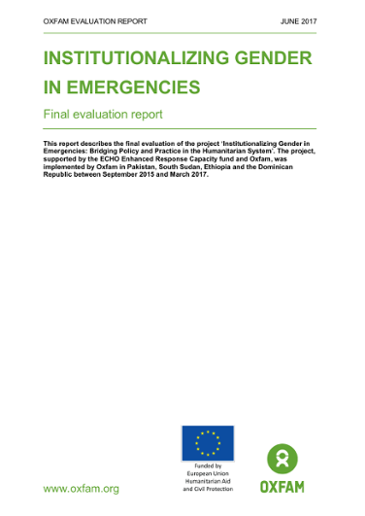 Institutionalizing Gender in Emergencies: Final evaluation