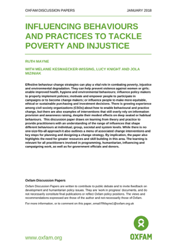 Influencing Behaviours and Practices to Tackle Poverty and