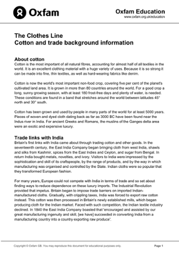 The Clothes Line: A resource exploring cotton production and