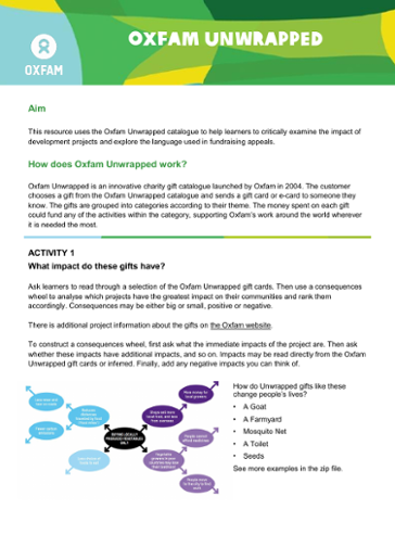 Oxfam Unwrapped: Support learners to