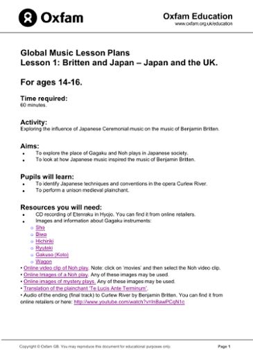 Global Music Lessons for ages 14-16