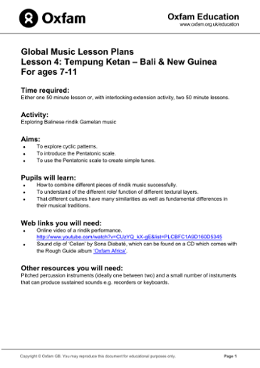 Global Music Lessons for ages 7-11